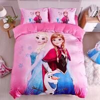 冰雪奇缘3D法兰绒四件套艾纱公主风珊瑚绒卡通儿童三件套床上用品