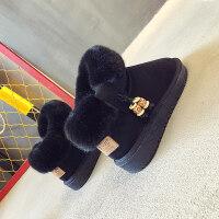 雪地靴女短筒韩版毛毛加绒一脚蹬短靴子加绒加厚面包棉鞋