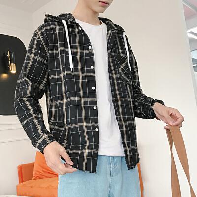春夏季港风时尚寸衫男学生连帽格子潮流宽松衬衣长袖衬衫