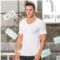 男士短袖t恤莫代尔圆领打底衫体恤纯色半袖汗衫