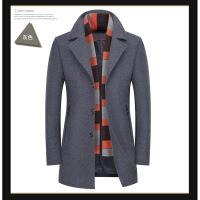 中年羊毛混合呢子大衣男秋冬中长款开衫西装式风衣外套送围巾潮