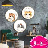 3D精准印花十字绣新款简单小幅儿童卧室挂画可爱猫咪线绣刺绣三联