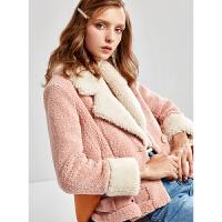 【清仓198元】羊羔绒外套女短款冬2019新款长袖皮毛一体皮草大衣
