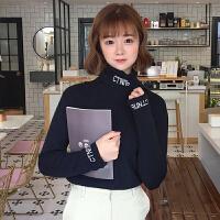 字母刺绣高领T恤女秋冬新款韩版百搭修身显瘦套头长袖加绒打底衫