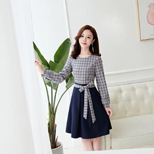 2018早秋新款韩版时尚显瘦气质格子收腰系带淑女A字连衣裙潮