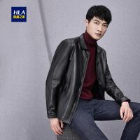 HLA/海澜之家翻领PU皮夹克2018秋季新品时尚柔软舒适男士外套
