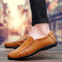 秋季豆豆鞋男士休闲皮鞋开车软底懒人鞋一脚蹬韩版百搭男鞋