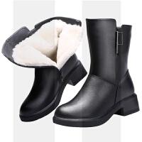 妈妈棉鞋冬季保暖中筒女靴加绒真皮短靴子粗跟加厚羊毛马丁女棉靴SN1315 黑色 建议比单鞋大一码