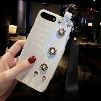 镭射腕带苹果X手机壳女iPhone7plus个性创意6s欧美网红8p新款 iphone X 白色