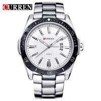 CURREN卡瑞恩8110 男士大表盘时尚日历手表 钢带男式防水手表