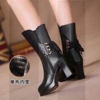 冬季羊毛女靴子真皮中筒靴高跟粗跟皮靴女士棉鞋马靴中年妈妈棉靴SN3452