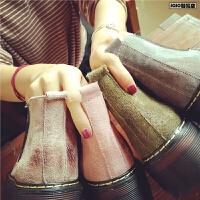 秋季增高松糕女靴欧美复古布洛克短靴单靴真皮厚底显瘦马丁靴女鞋