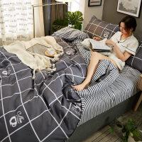 大学生床单被罩宿舍三件套舒适简约风四件套1.8m床单人2.0双人1.5