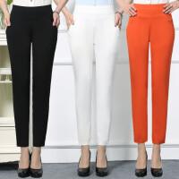 夏季薄款中年女装休闲裤大码高腰弹力妈妈裤中老年女士直筒九分裤