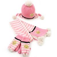冬天 儿童帽子围巾手套三件套  小孩男童女童帽子围巾套装
