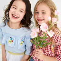 【1件2.5折到手价:42.3】moomoo童装儿童上衣女童夏季新款荷叶边衬衣小女孩洋气绣花衬衫