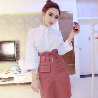 欧洲站韩版气质衬衫上衣高腰短裙两件套修身显瘦时尚套装女潮女