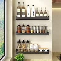 厨房置物架壁挂式免打孔黑色调料多功能用品家用大全墙上收纳挂架