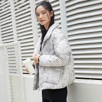 [AMII东方极简] JII原创 2017冬装印花羽绒服女花色短款原宿面包服