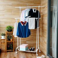 【领券】ORZ 白色室内晾衣架 落地双杆式加厚晒衣架简易升降挂衣架鞋架
