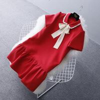 ins超火的娃娃领学院风红色雪纺连衣裙夏小香风女中长款荷叶边裙