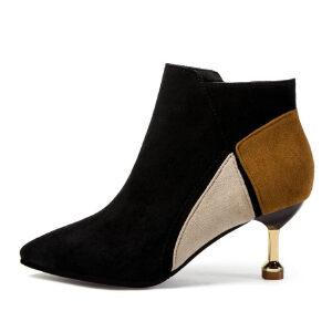 WARORWAR新品YM29-3636秋冬欧美细跟高跟女士靴子切尔西靴短靴