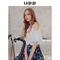 Lagogo/拉谷谷2019夏季新款拼接荷叶边袖口V字领上衣HASS335A17