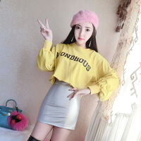两件套秋冬韩版学院风宽松长袖字母印花+高腰PU皮裙半身裙套装裙