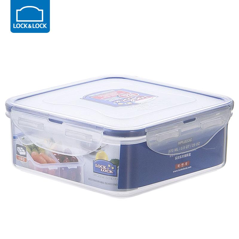 乐扣乐扣保鲜盒塑料微波炉饭盒密封盒便携分隔便当盒水果盒 870ml【四分隔】