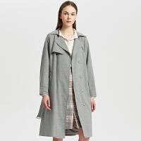 【1件2.5折到手价:257.3】MECITY女装早秋新款chic羊毛混纺中长款长袖风衣