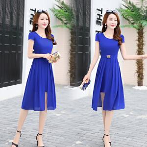 时尚连衣裙女夏2018新款修身显瘦收腰气质女装假两件套裙子中长裙