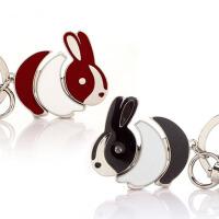 创意兔子钥匙扣一对汽车钥匙挂件包包钥匙链情侣钥匙扣 情侣兔子(拍下为一对黑红各一个)