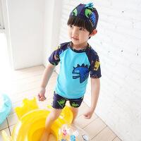 学生儿童泳衣韩版平角分体男童婴幼儿游泳衣恐龙游泳裤