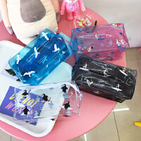 韩国可爱卡通透明企鹅美人鱼化妆包收纳包小清新防水便携洗漱包女
