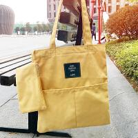 韩国街拍学院风帆布包女单肩文艺小清新纯色学生手提袋帆布购物袋