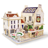 男孩女孩成人建筑模型花园别墅房子3D立体拼图亲子互动diy木质仿真模型儿童益智力玩具拼装积木手工