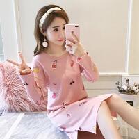 睡裙女春秋季长袖韩版可爱粉色少女睡衣女士可外穿休闲家居服