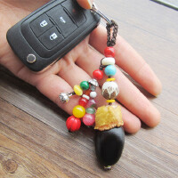 高档汽车钥匙扣挂件男女定制情侣创意手工菩提子乌木钥匙链挂饰品