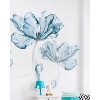 房间ins墙贴纸卧室温馨墙上贴画宿舍墙面装饰墙纸自粘壁纸小清新 蓝花(收藏赠送蝴蝶) 超大
