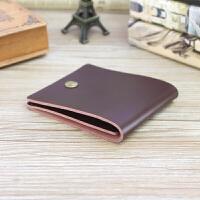 短款钱包女薄款简约复古小钱包男女通用对叠钱夹创意时尚皮夹