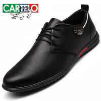 卡帝乐鳄鱼男鞋夏季商务正装休闲皮鞋男士透气系带黑色英伦潮鞋子