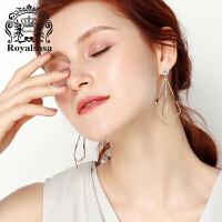 皇家莎莎耳钉女日韩版简约几何耳坠耳环仿水晶耳饰情人节生日礼物