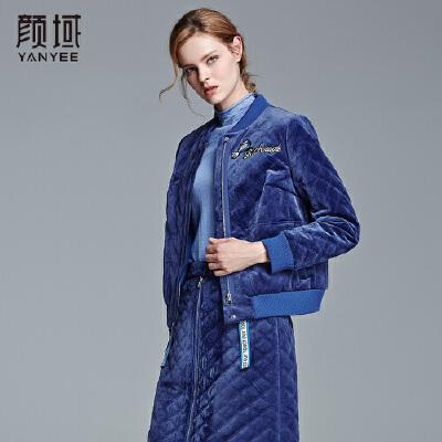 颜域品牌女装2017冬季装女士休闲短款丝绒上衣时尚简约纯色外套罗纹设计,清新减龄