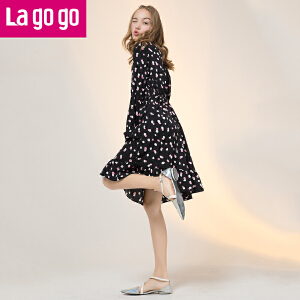 Lagogo2017秋冬新款波点印花松紧高腰长袖立领连衣裙女外穿打底