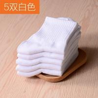 儿童袜子纯棉 3-5岁1-2岁女童男童白运动无短袜春秋学生中筒袜 白 5双+送1双白