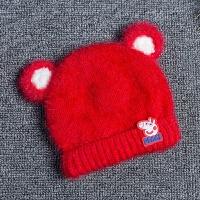 婴儿帽子秋冬小孩套头帽3-6-12个月儿童毛线帽男女童针织帽护耳帽 均码