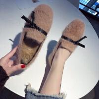 方头chic小单鞋女秋冬新款豆豆毛毛鞋韩版学院风复古百搭网红鞋潮srr