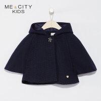【全场2件2.5折,到手价:132.3】米喜迪mecity童装2019春新款女童含羊毛斗篷式连帽夹克外套