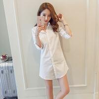 韩版男友风性感衬衫裙女外套宽松中长款长袖情趣睡衣大码白衬衣夏 白色版