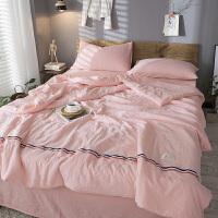 夏季空调被四件套纯棉可水洗棉薄款被子全棉夏被双人床夏天夏凉被 +床单1条